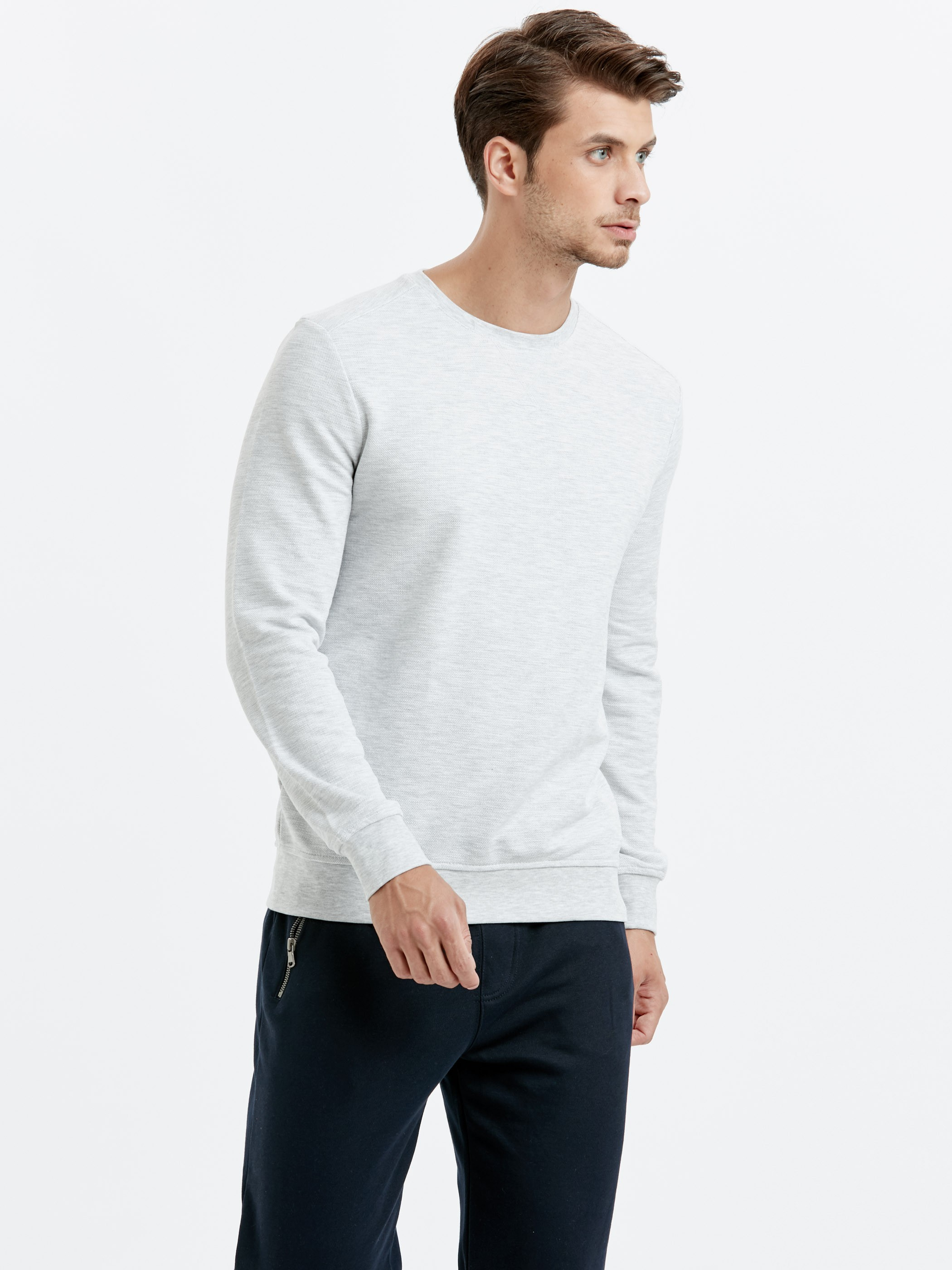 GREY - Crew Neck Basic Sweatshirt - 8W0912Z8