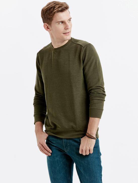 KHAKI - Crew Neck Basic Sweatshirt - 8W0912Z8