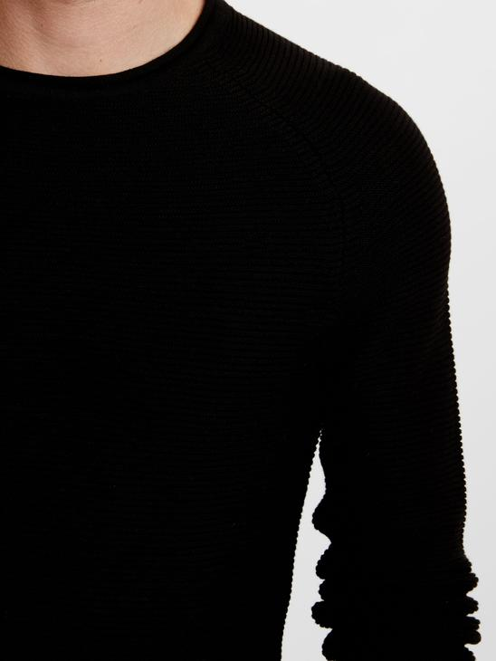 BLACK - Crew Neck Figured Lightweight Tricot Jumper - 8W1504Z8