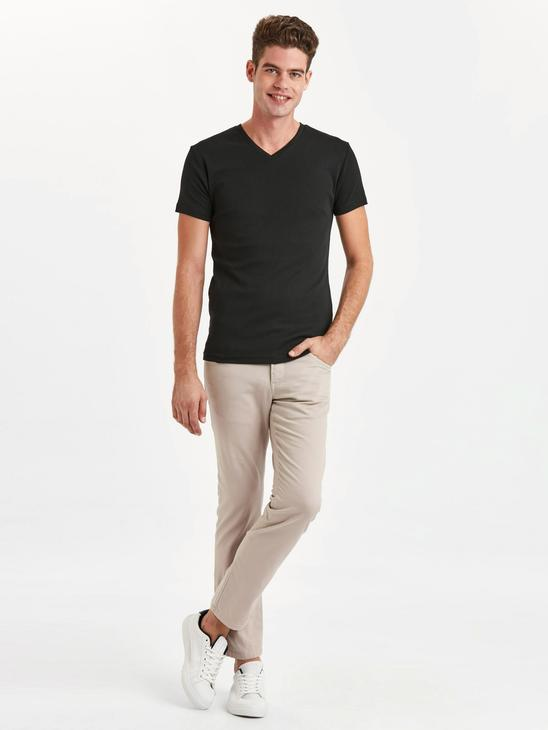 BLACK - V-Neck Basic Cotton T-Shirt - 9S2820Z8