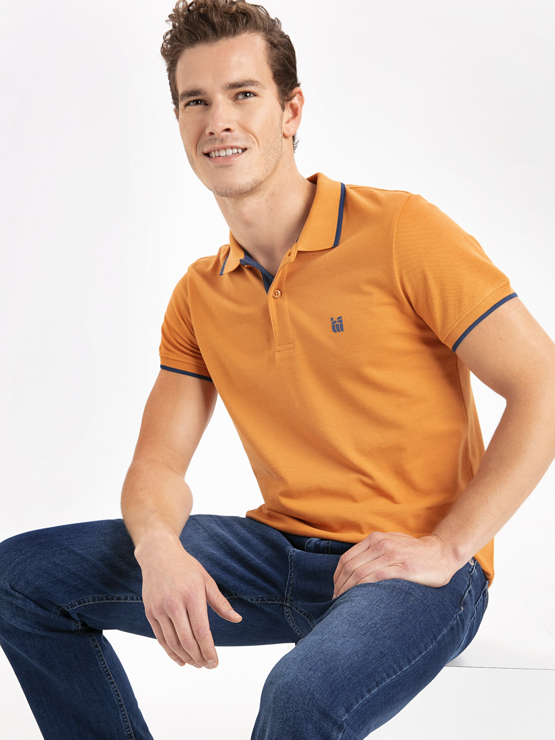 ORANGE - Polo Neck Basic Short Sleeve Pique T-Shirt - 9W0104Z8