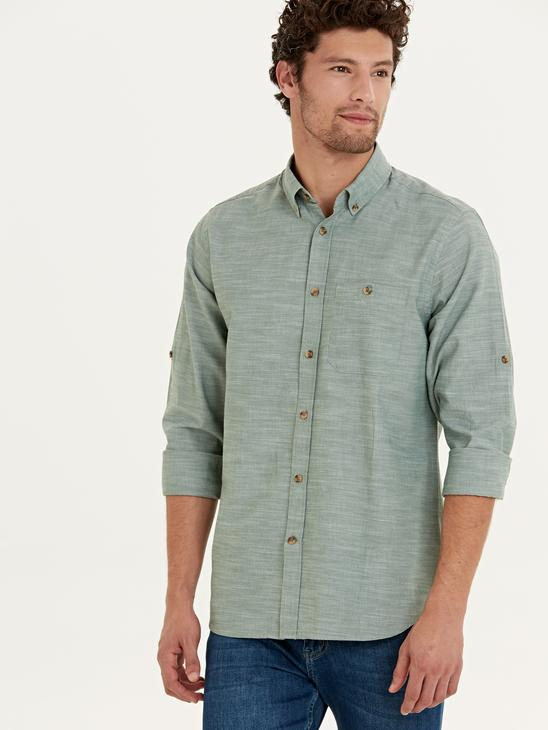 GREEN - Regular Fit Long Sleeve Poplin Shirt - 9W1097Z8