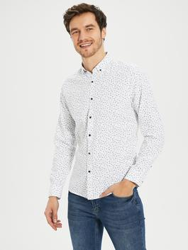 WHITE - Slim Fit Long Sleeve Oxford Men Shirt