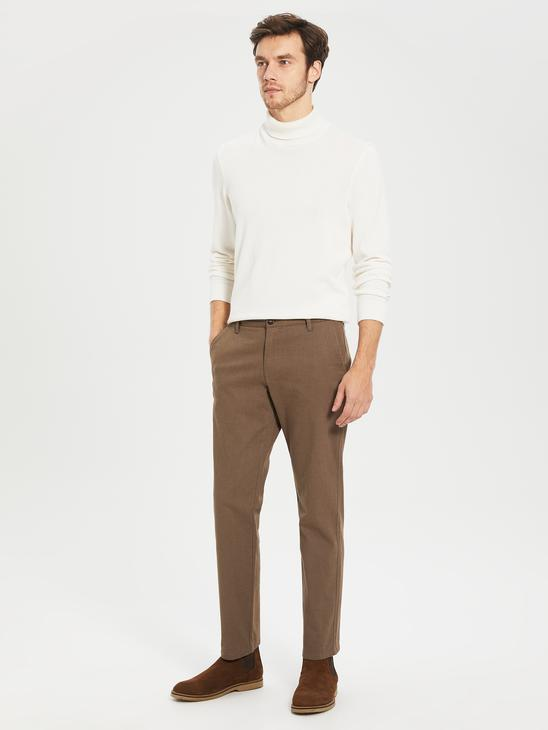 BEIGE - Standard Fit Twill Trousers - 0S0896Z8
