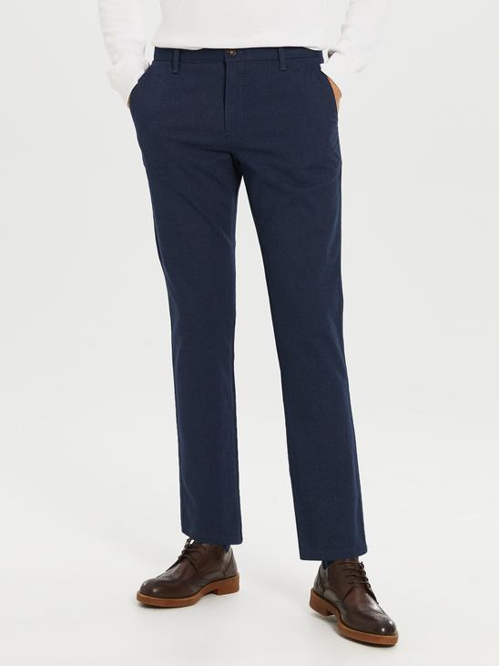 NAVY - Standard Fit Twill Trousers - 0S0896Z8