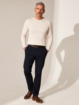 NAVY - Slim Fit Dobby Men's Trousers