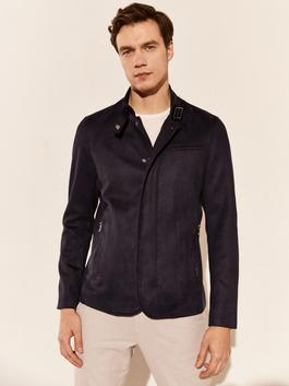 NAVY - Slim Fit High Collar Suede Jacket