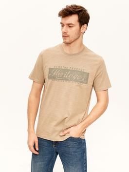 BEIGE - Crew Neck Printed Combed Cotton T-Shirt
