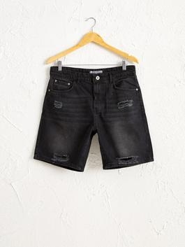 BLACK - Relaxed Fit Jean Shorts