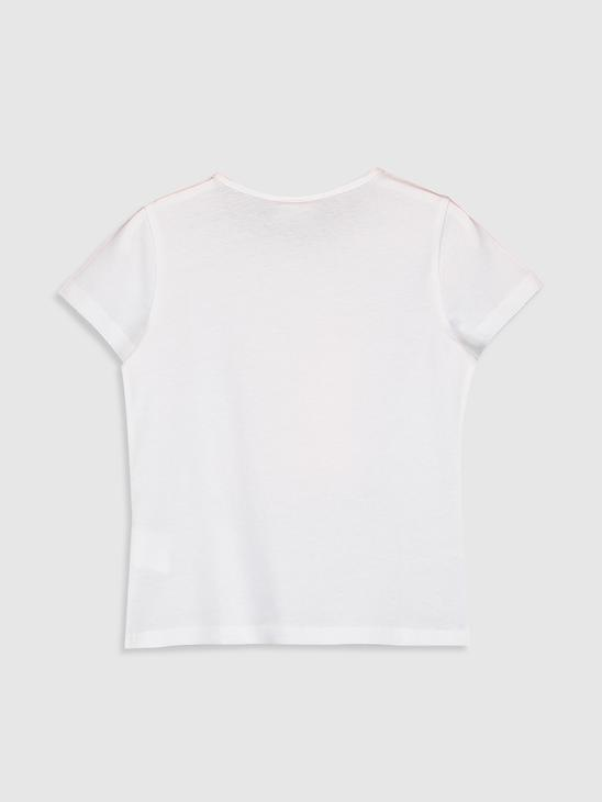 WHITE - Girl's Printed Cotton T-Shirt - 0S6243Z4