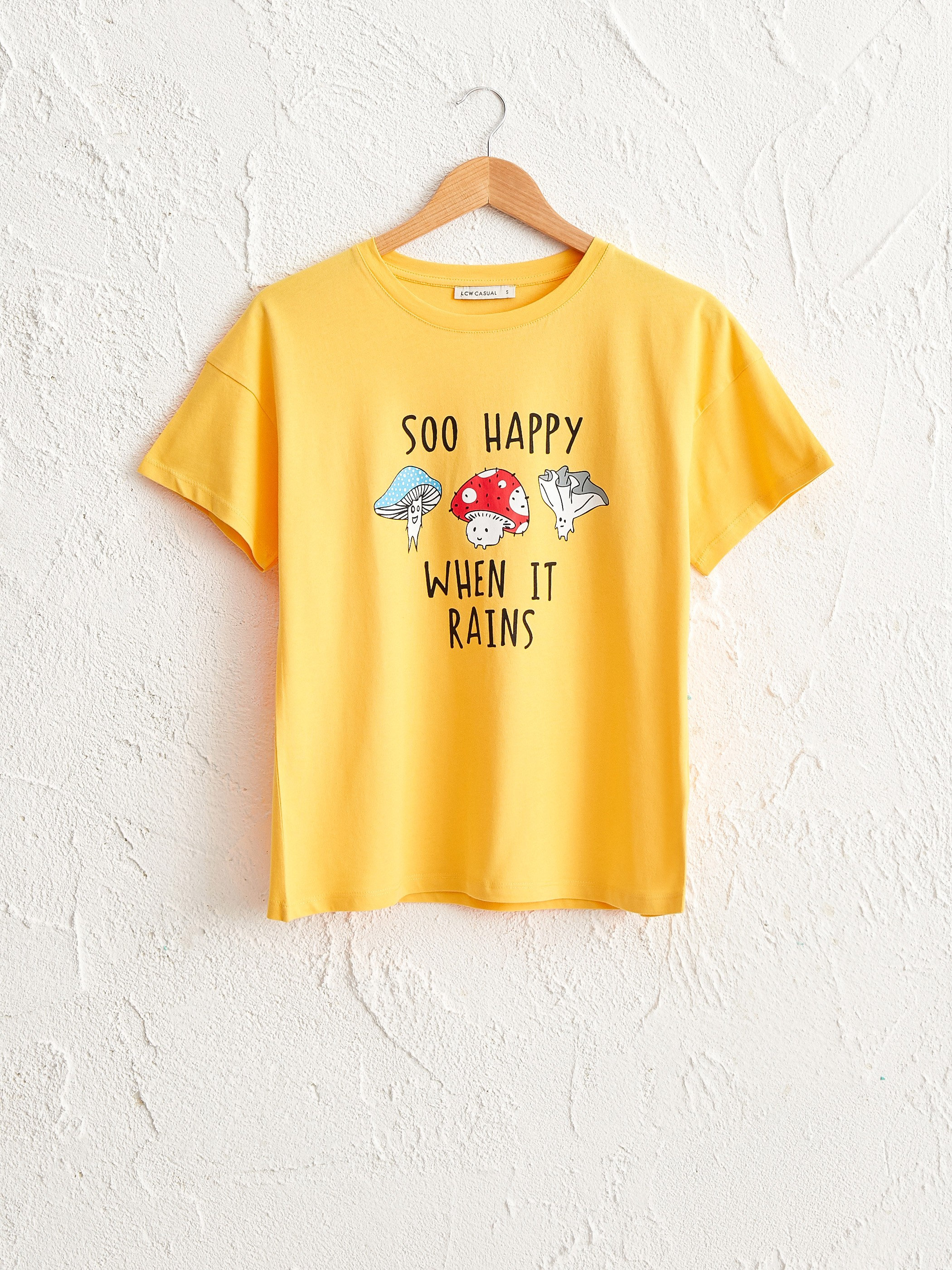 YELLOW - Letter Printed Cotton T-Shirt - 0SF035Z8