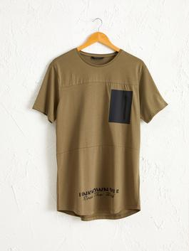 KHAKI - Crew Neck Printed Combed Cotton T-Shirt