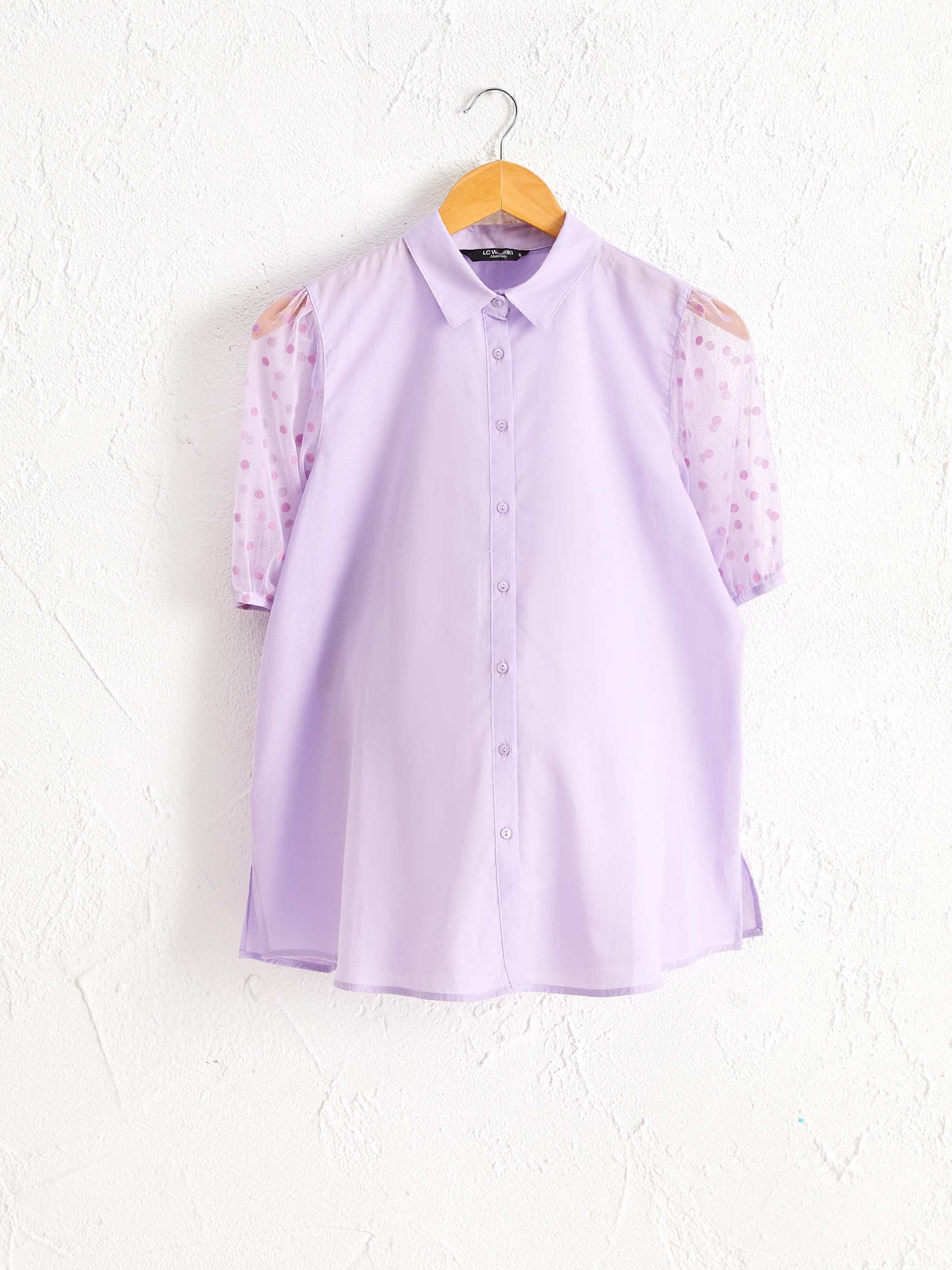 LILAC - Poplin Maternity Shirt with Sleeves Tulle Detail - 0SA106Z8