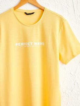 YELLOW - Crew Neck Printed Combed Cotton T-Shirt - 0SE275Z8
