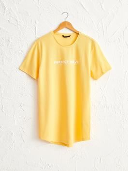 YELLOW - Crew Neck Printed Combed Cotton T-Shirt