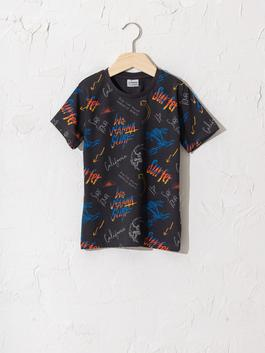 ANTHRACITE - Boy's Printed Cotton T-Shirt