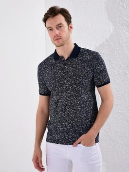 NAVY - Slim Fit Polo Neck Figured Pique T-Shirt
