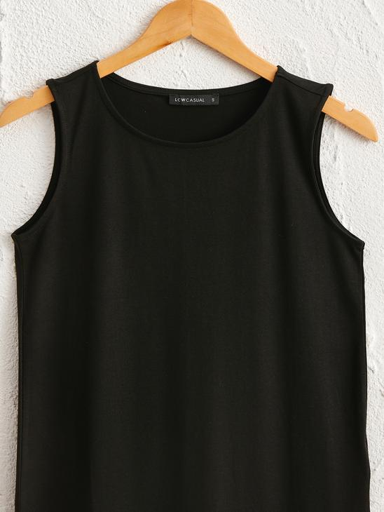 BLACK - Plain Crew Neck Tank Top - 0SE034Z8