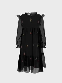 BLACK - Girl's Embroidery Tulle Dress