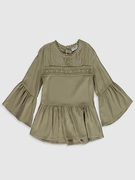 GREEN - Girl's Lace Detailed Viscose Blouse