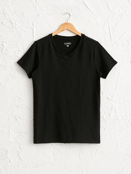BLACK - V-Neck Short Sleeve Cotton Flannel
