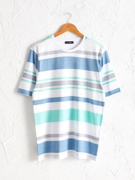 GREEN - Crew Neck Striped Combed Cotton T-Shirt