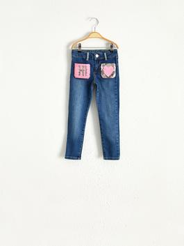 INDIGO - Girl's Double-Sided Sequin Jeans