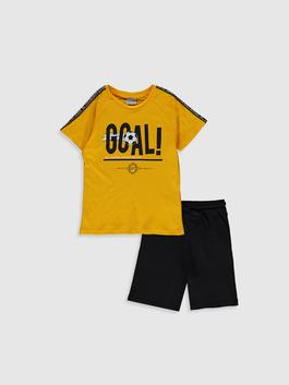 YELLOW - Boy's Printed T-Shirt and Shorts