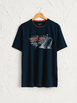 NAVY - Crew Neck Printed Combed Cotton T-Shirt - 0SL711Z8