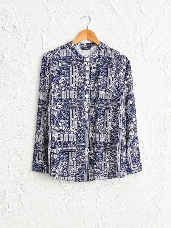 NAVY - Figured Viscose Blouse - 0SB807Z8