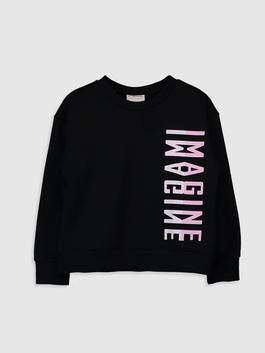 BLACK - Girl's Printed Sweatshirt