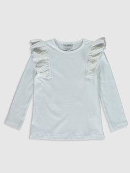 ECRU - Girl's Ruffled Cotton T-Shirt