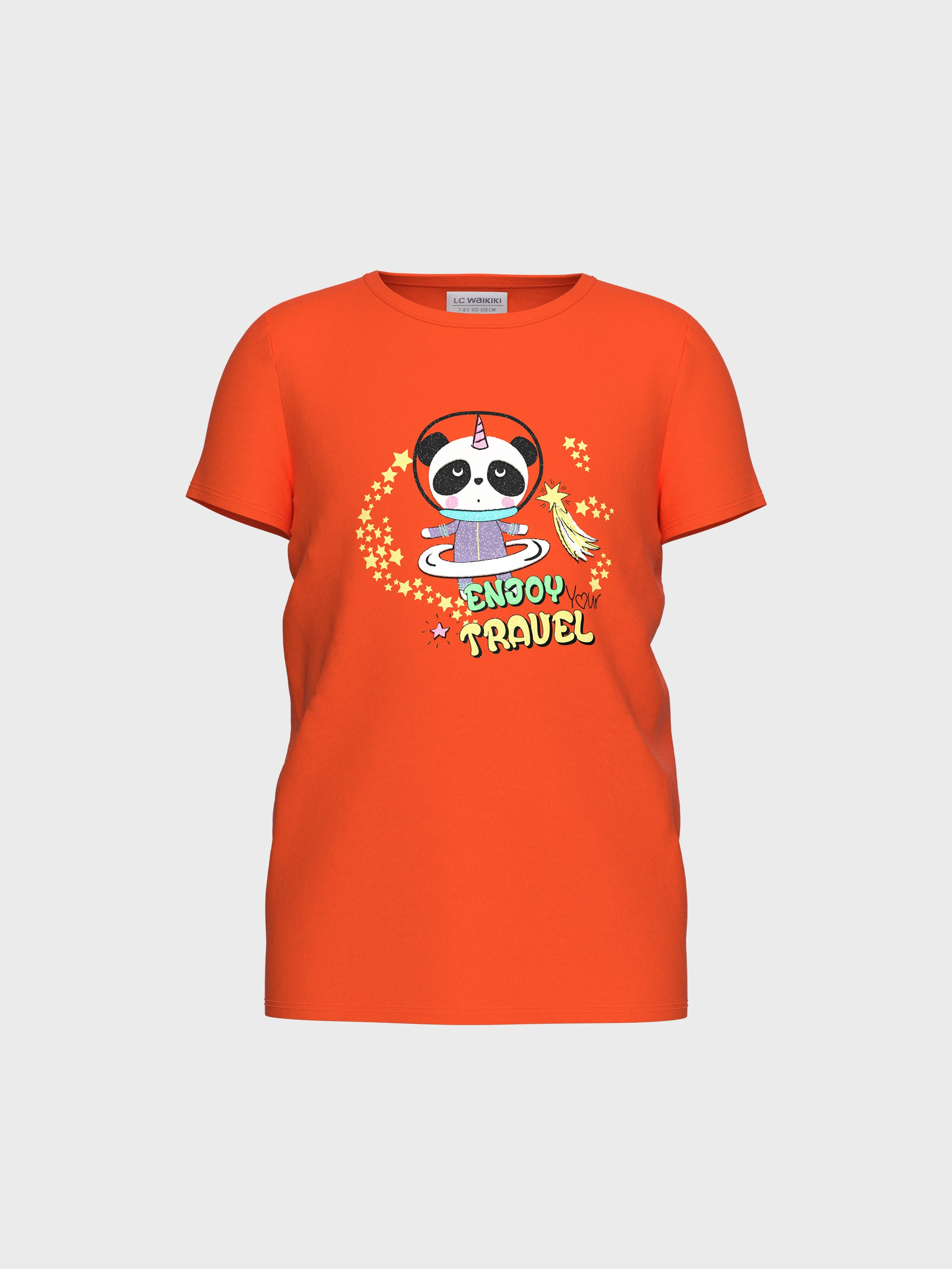 ORANGE - Girl's Printed Cotton T-Shirt - 0S6242Z4