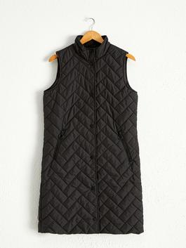 BLACK - Neckband and Quilted Figured Vest