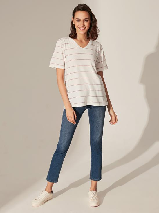 PINK - Striped Stretch T-Shirt - 0S4950Z8