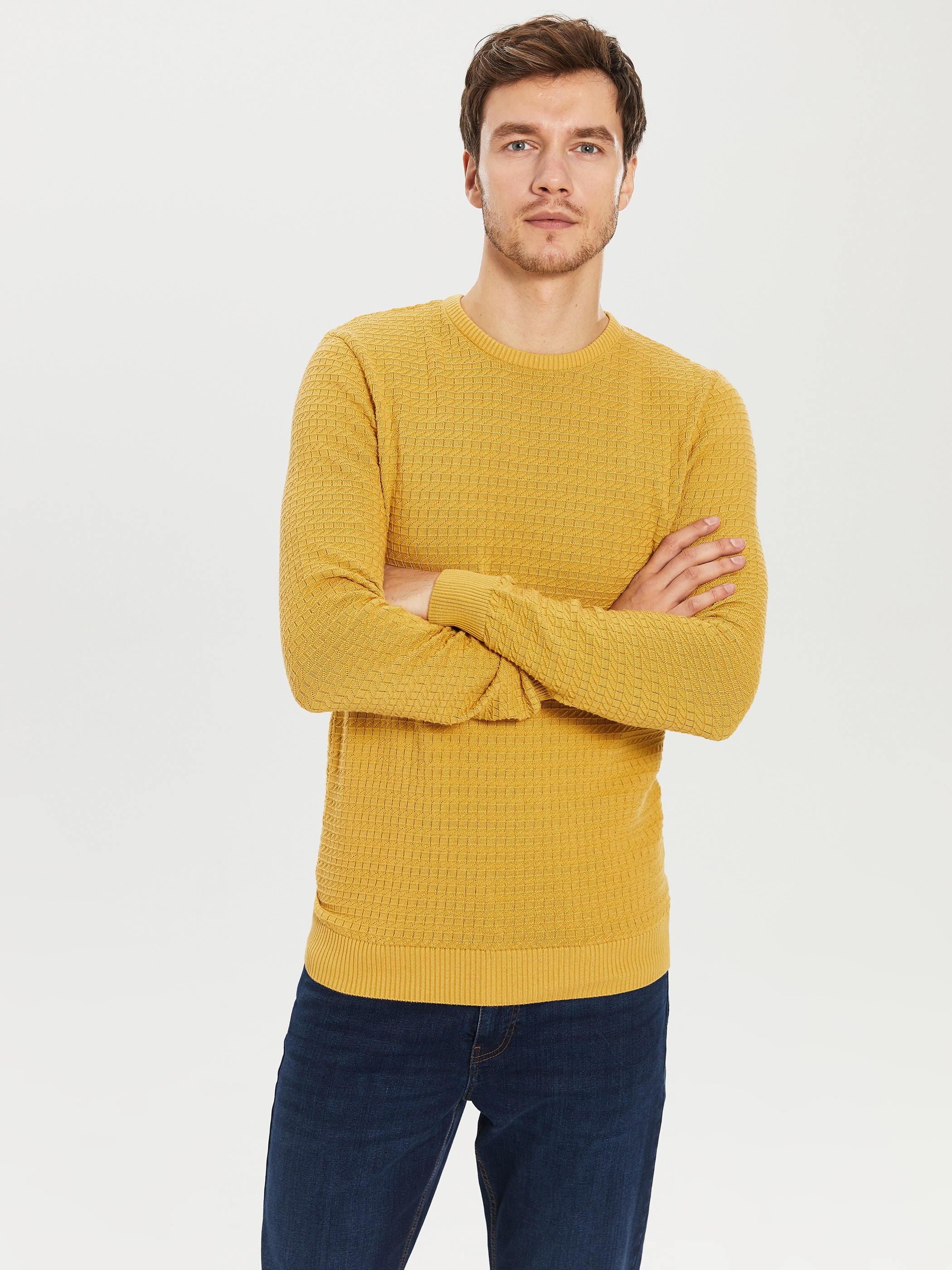 YELLOW - Crew Neck Lightweight Tricot Jumper - 0S1428Z8