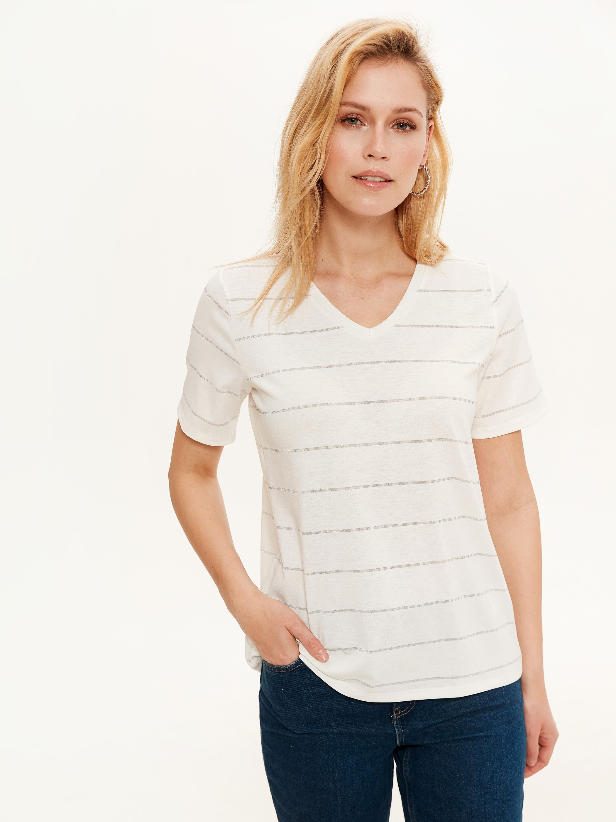 GREY - Striped Stretch T-Shirt - 0S4950Z8