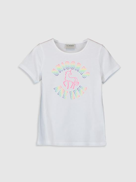 WHITE - Girl's Printed Cotton T-Shirt - 0S6242Z4