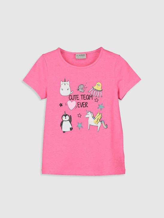 FUSHIA - Girl's Printed Cotton T-Shirt - 0S6242Z4