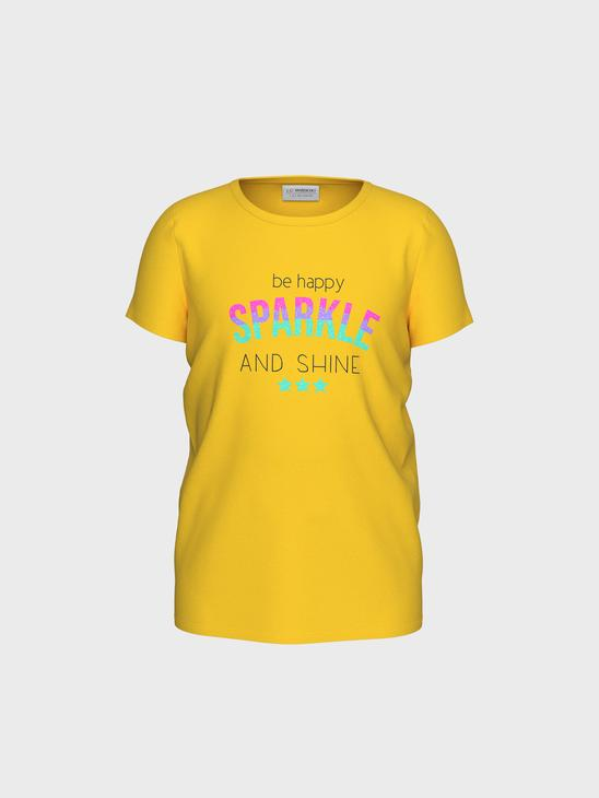 YELLOW - Girl's Printed Cotton T-Shirt - 0S6242Z4