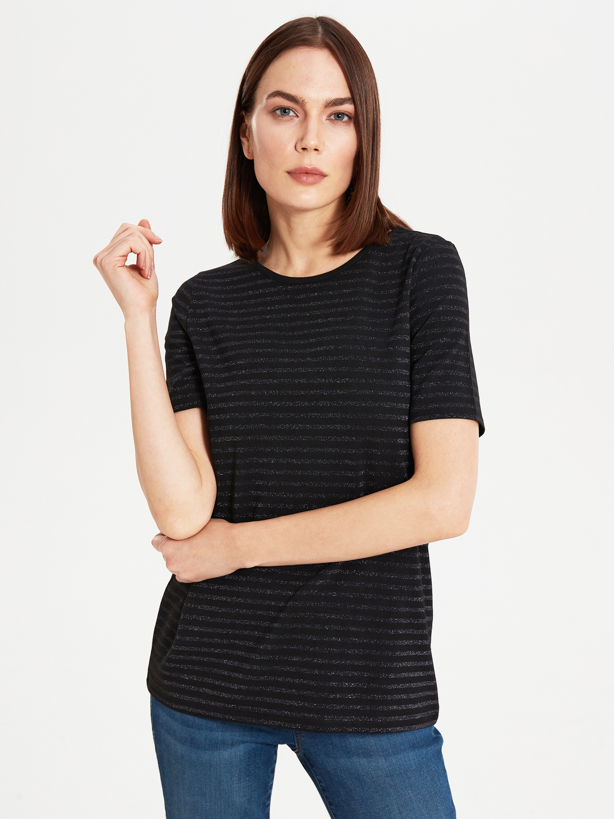 GREY - Striped Stretch T-Shirt - 0S2164Z8