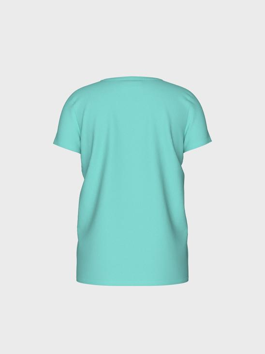 TURQUOISE - Girl's Printed Cotton T-Shirt - 0S6242Z4