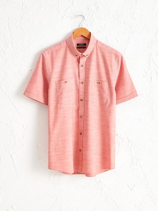 RED - Regular Fit Short Sleeve Poplin Shirt - 0S5740Z8