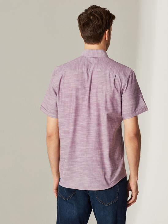 PURPLE - Regular Fit Short Sleeve Poplin Shirt - 0S5740Z8