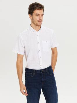 WHITE - Regular Fit Short Sleeve Linen Shirt