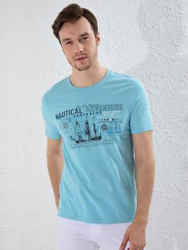 TURQUOISE - Crew Neck Printed Combed Cotton T-Shirt