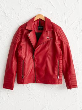 RED - Faux Leather Short Coat