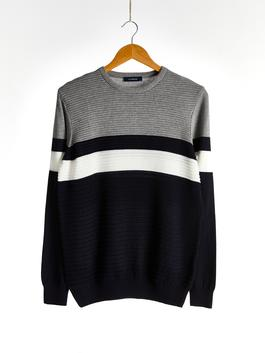 NAVY - Crew Neck Color Block Tricot Jumper