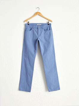 BLUE - Regular Fit Textured Trousers