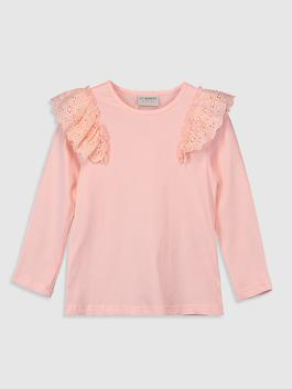 PINK - Girl's Ruffled Cotton T-Shirt